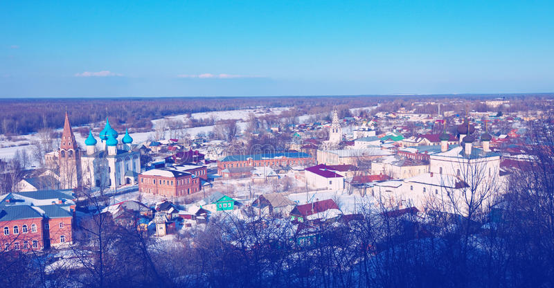 Panoramic view of Gorokhovets. In winter. Russia royalty free stock images