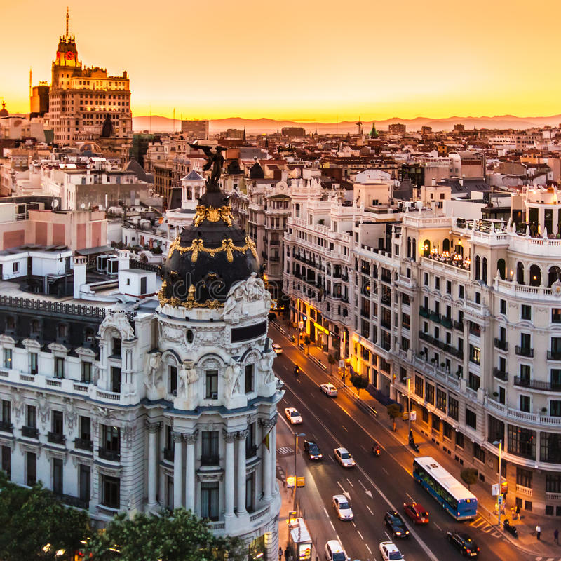 Panoramic view of Gran Via, Madrid, Spain. royalty free stock photo