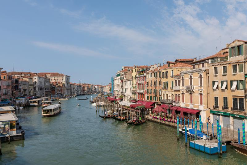 Panoramic view of Grand Canal (Canal Grande) from Rialto Bridge stock photography