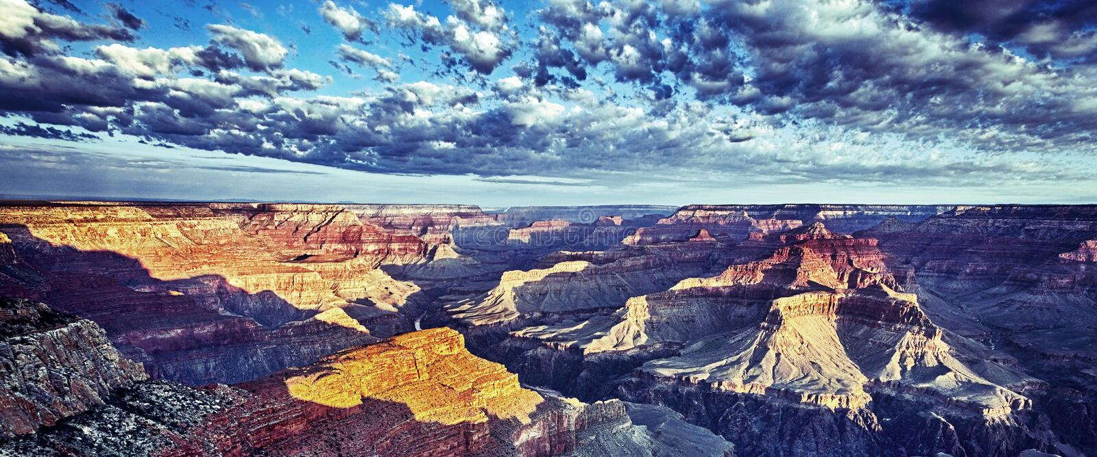 Panoramic view of Grand Canyon with morning light stock photo
