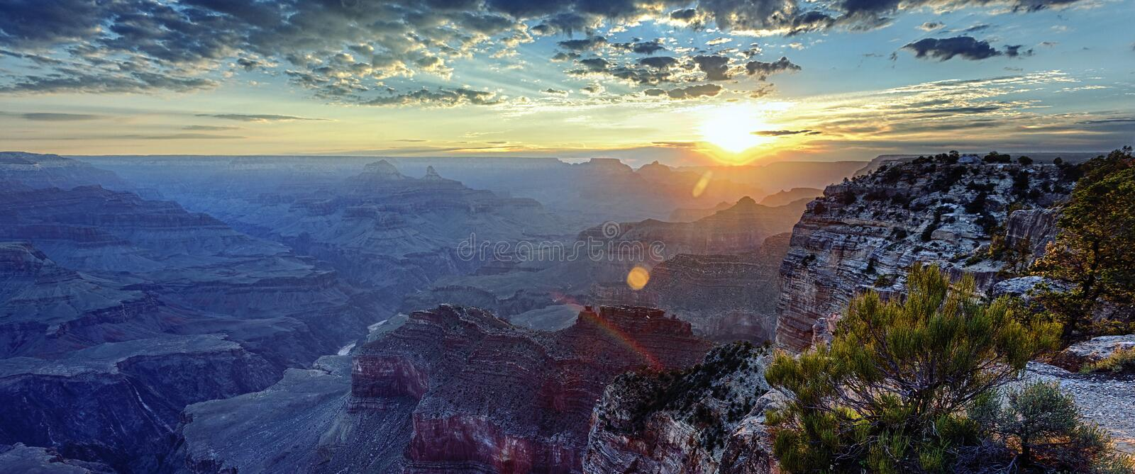 Panoramic view of Grand Canyon at sunrise royalty free stock image