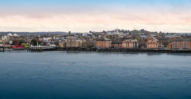 Panoramic view of Gravesend and the Thames river, England, UK. Wide landscape image of Gravesend city skyline at the river across the cruise terminal in Tilbury stock image