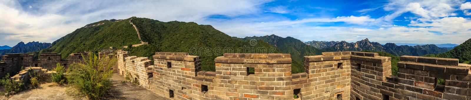 Great Wall of China, in the Mutianyu village, one of remote parts of the Great Wall near Beijing. Panoramic view of the Great Wall of China, in the Mutianyu royalty free stock images