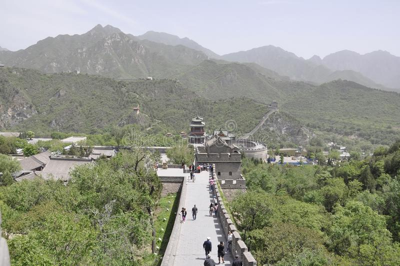 China, 6th may: Chinese Great Wall landmark at Juyongguan Pass. Panoramic view of the Great Wall at Juyongguan Pass a UNESCO World Heritage from China 6th may stock images