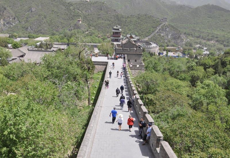 China, 6th may: Chinese Great Wall landmark at Juyongguan Pass. Panoramic view of the Great Wall at Juyongguan Pass a UNESCO World Heritage from China 6th may stock photos