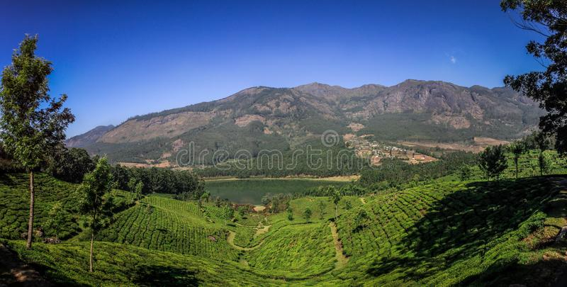 Panoramic view of the green lush tea hills and mountains around Munnar, Kerala, India. Munnar is a town and hill station located in the Idukki district of the stock image