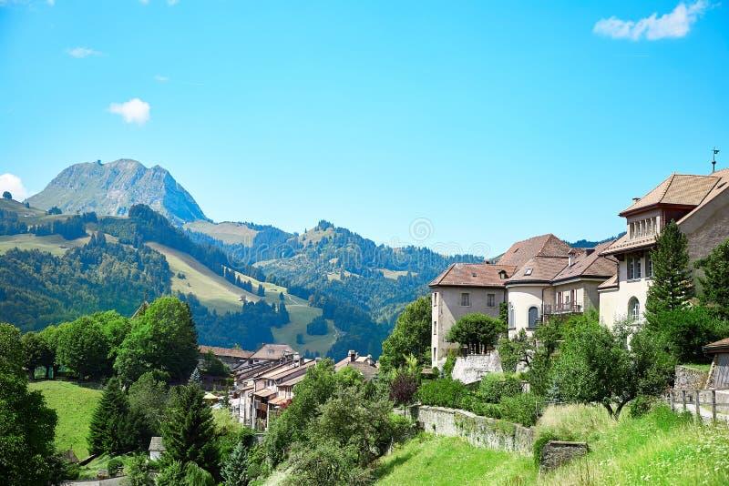 Panoramic view of Gruyere, Switzerland. Panoramic view of Gruyere town, Switzerland royalty free stock image