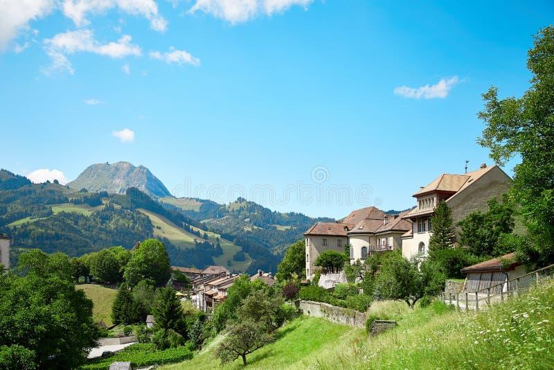 Panoramic view of Gruyere, Switzerland. Panoramic view of Gruyere town, Switzerland royalty free stock images