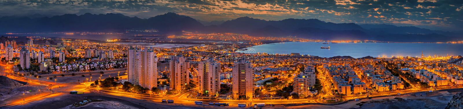 Panoramic view on the Gulf of Aqaba and cities -Eilat and Aqaba. The image was taken from the hills of Eilat stock photo