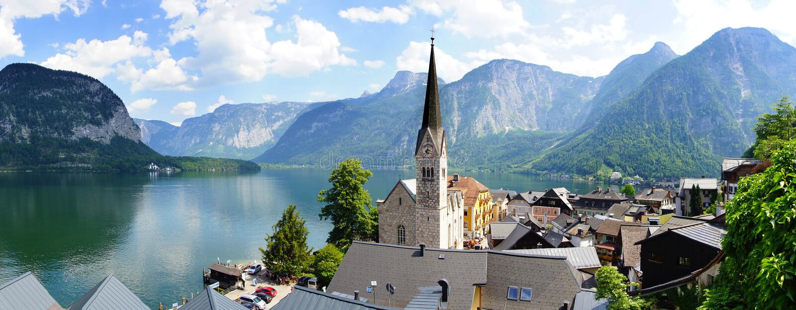 Download Panoramic View Of The Hallstatt,  Austria Stock Image - Image of panoramic, mountain: 25809205