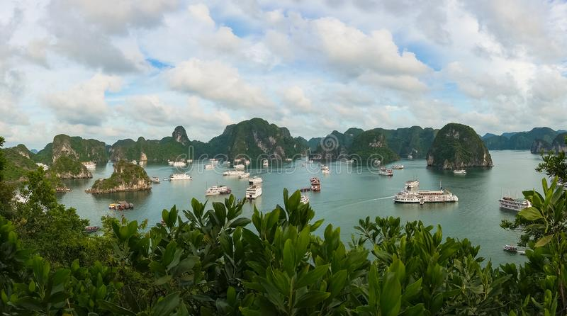 Panoramic view of Halong Bay with cruise ships and boats stock photo