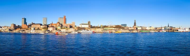 Panoramic view of Hamburg in January stock image