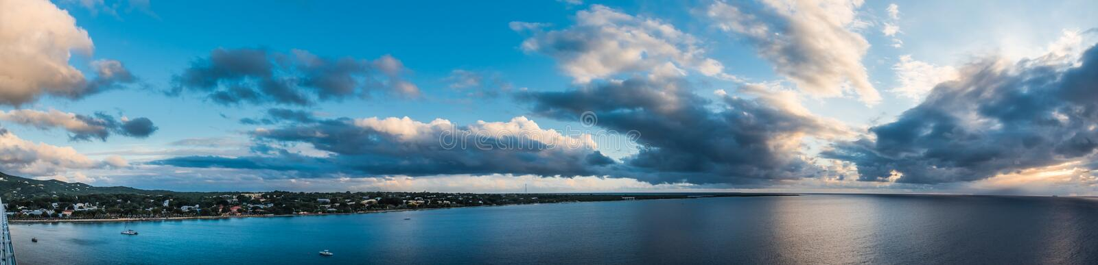 Panoramic view of the harbor and Caribbean departing St. Croix a stock photos