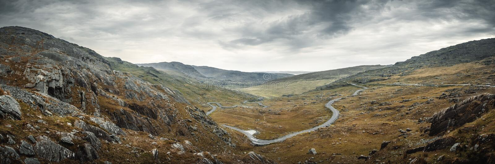 Panoramic view of Healy Pass in County Cork in Ireland stock photos