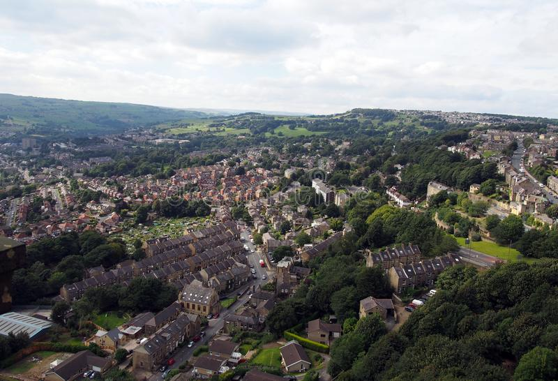 Panoramic view of hebden bridge in west yorkshire england. Showing streets houses and surrounding countryside stock photography