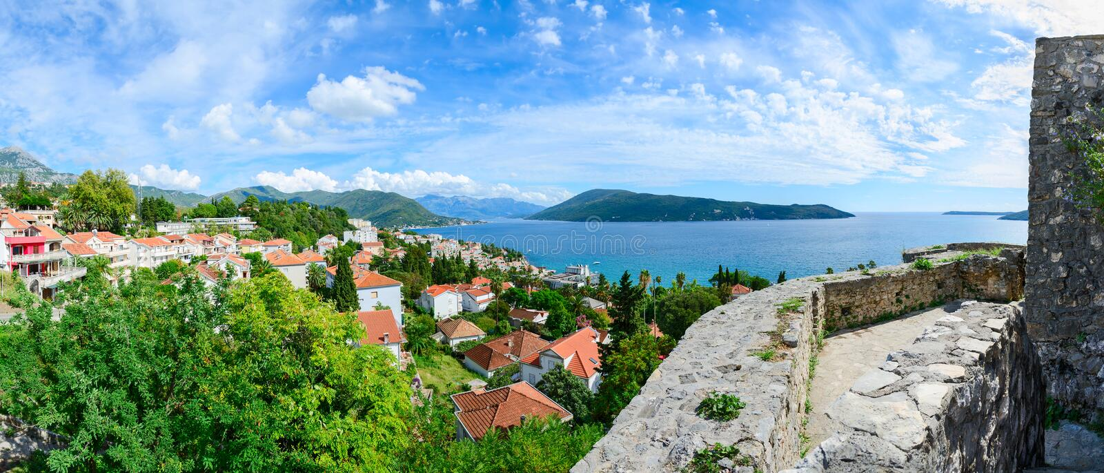 Panoramic view of Herceg Novi and the Bay from the fortress wall. Beautiful panoramic view of Herceg Novi and the Bay from the fortress wall, Montenegro stock photo