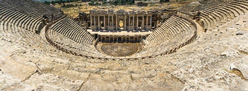 Panoramic view from Hierapolis Ancient CityTheater, Denizli, Turkey. Roman theater royalty free stock photography