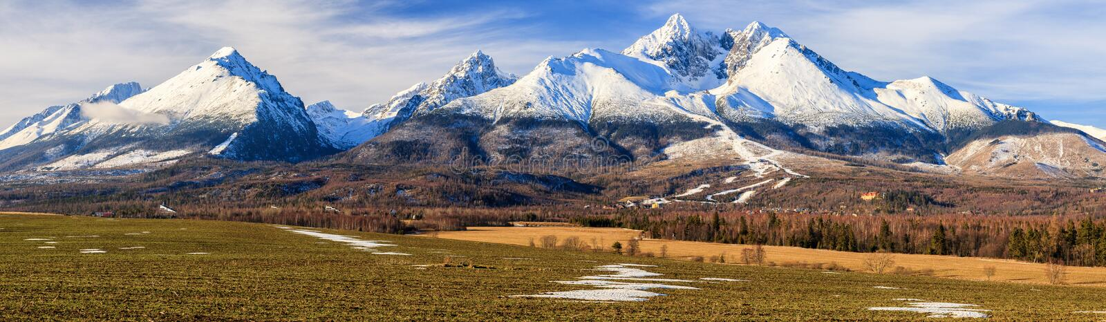Panoramic view of High Tatras mountains in winter, Slovakia royalty free stock photo