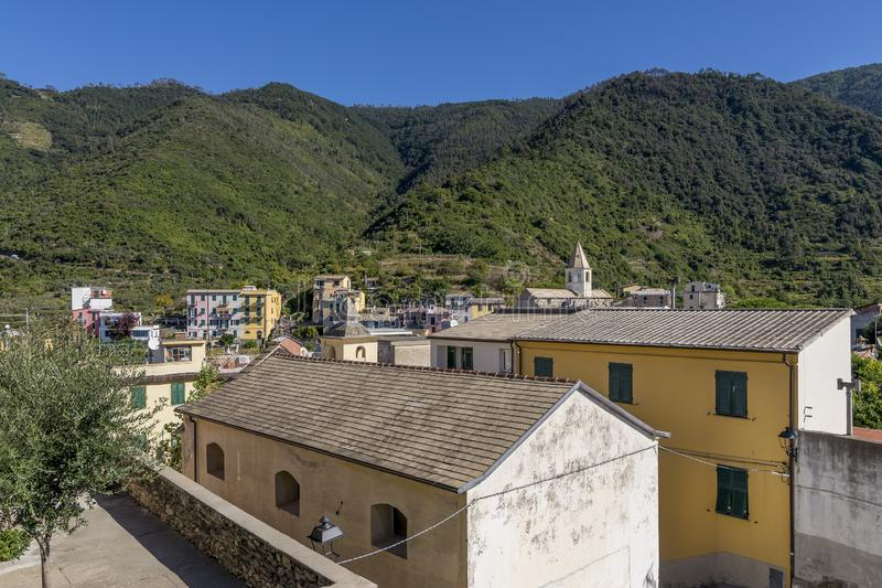 Panoramic view of the hill town of Corniglia in the Cinque Terre park, Liguria, Italy royalty free stock photos