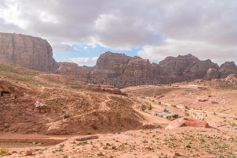Panoramic view of hills in Petra, Jordan. royalty free stock image
