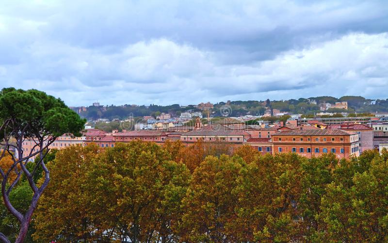 Panoramic view of historic center of Rome. Panorama building evening stock image