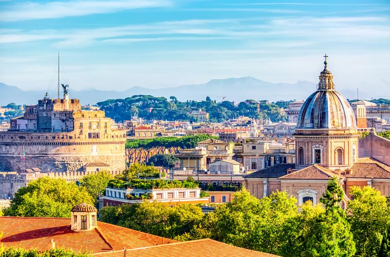 Panoramic view of historic center of Romem Italy from the Gianicolo hill during summer sunny day.  royalty free stock image