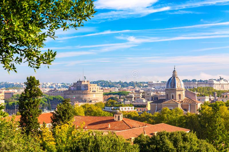 Panoramic view of historic center of Romem Italy from the Gianicolo hill during summer sunny day.  stock image
