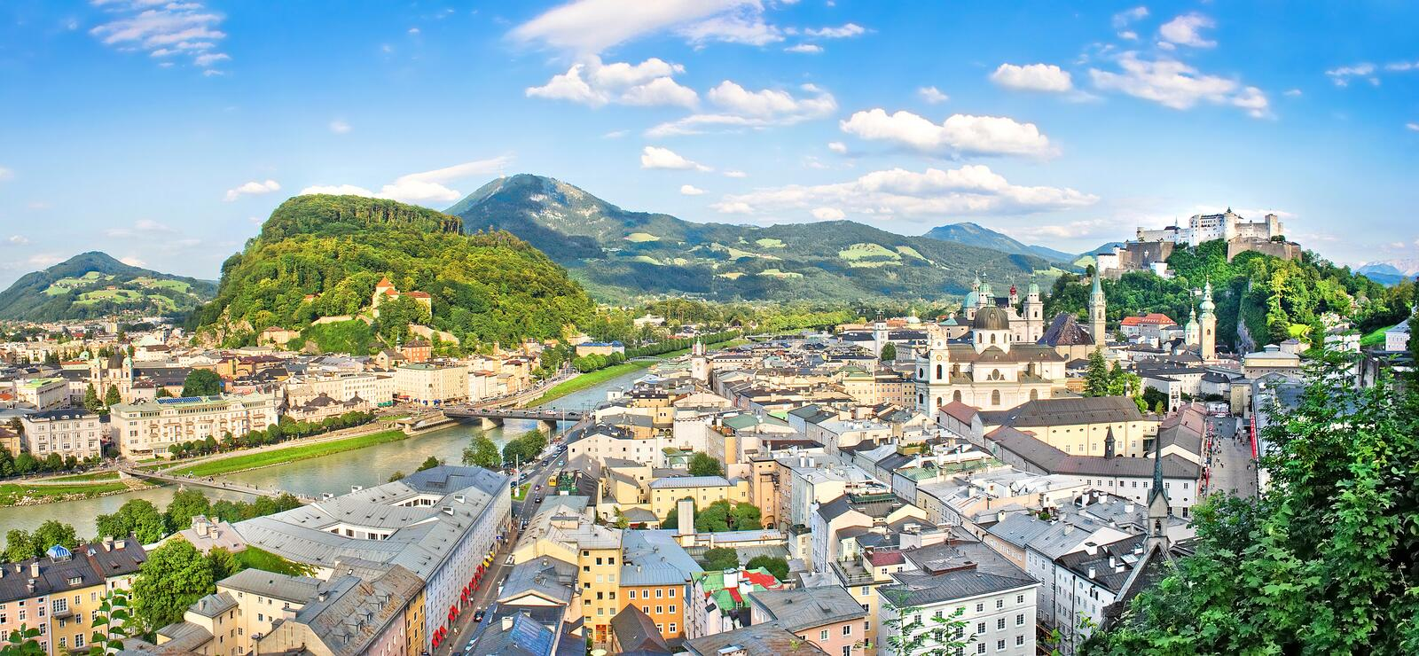 Panoramic view of the historic city of Salzburg, Salzburger Land, Austria stock images