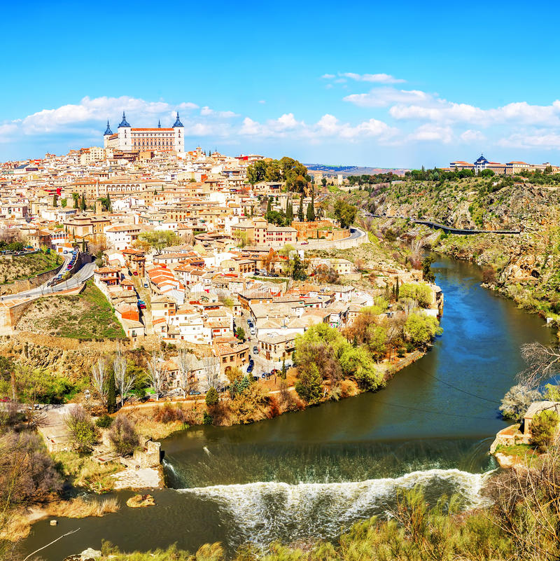 Panoramic view of the historic city of Toledo with river Tajo, S stock photos