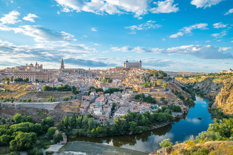 Panoramic view of the historic city of Toledo with river Tajo royalty free stock photography