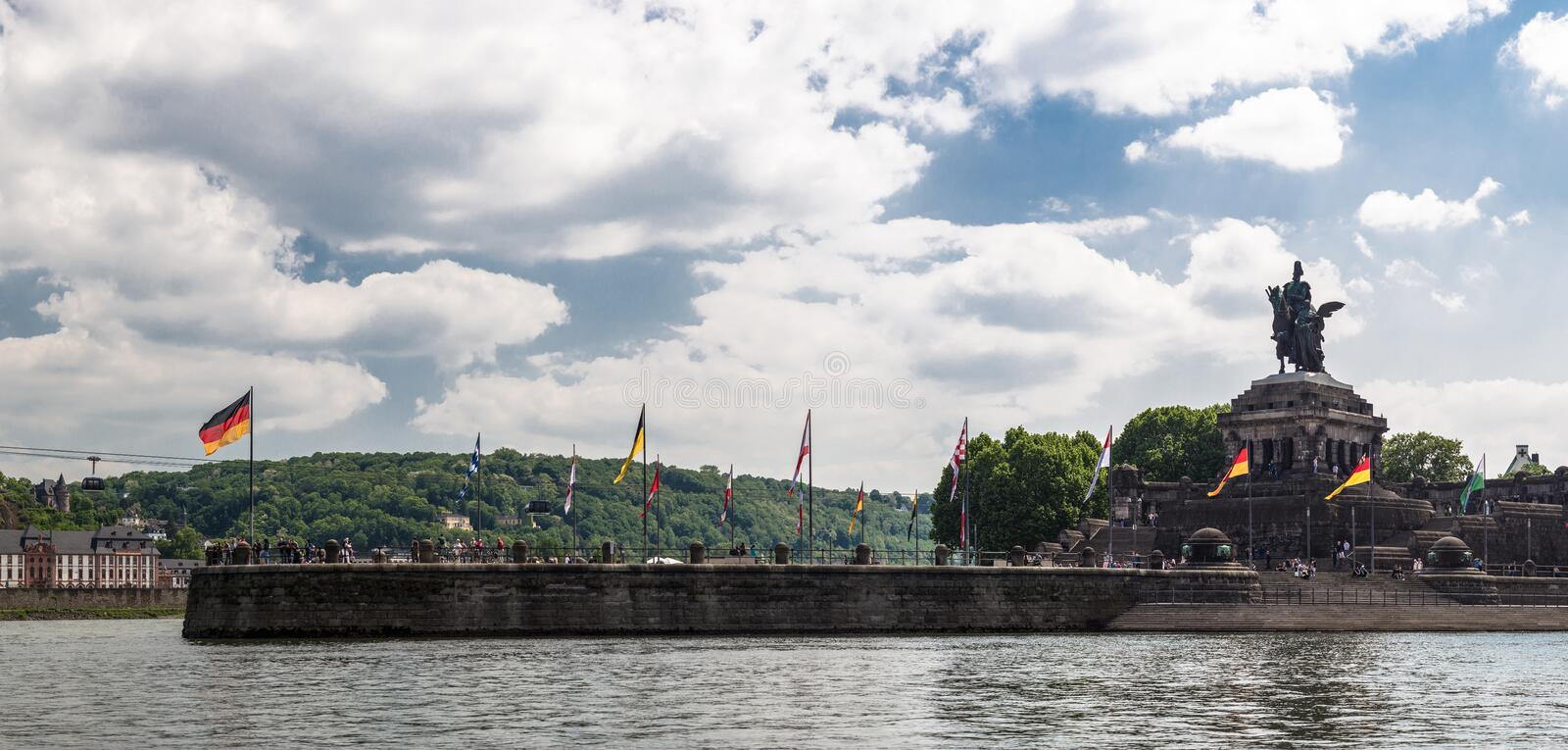 Panoramic view of historic German Corner Deutsche Eck where Rhine and moselle flow together in Koblenz city, Germany. royalty free stock images