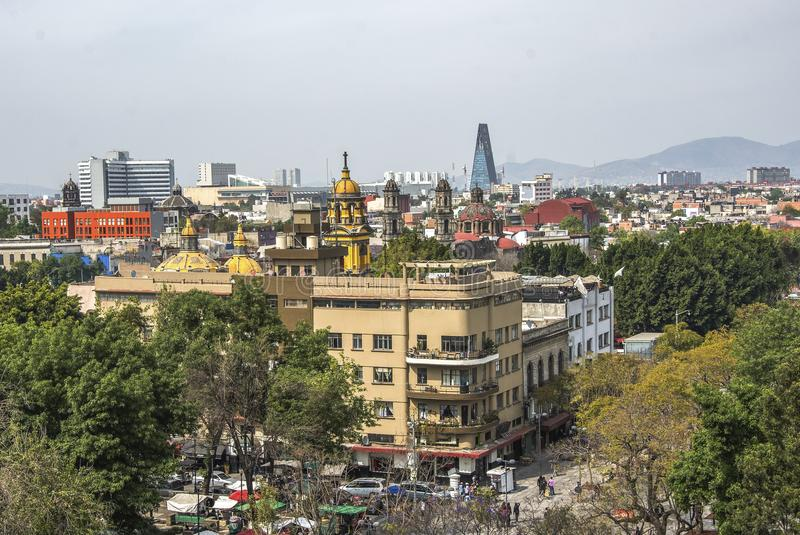 Panoramic view of historical building in Mexico City. Mexico stock photography