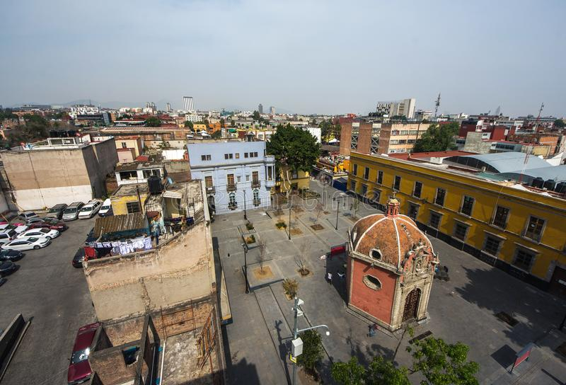 Panoramic view of historical building in Mexico City stock photo