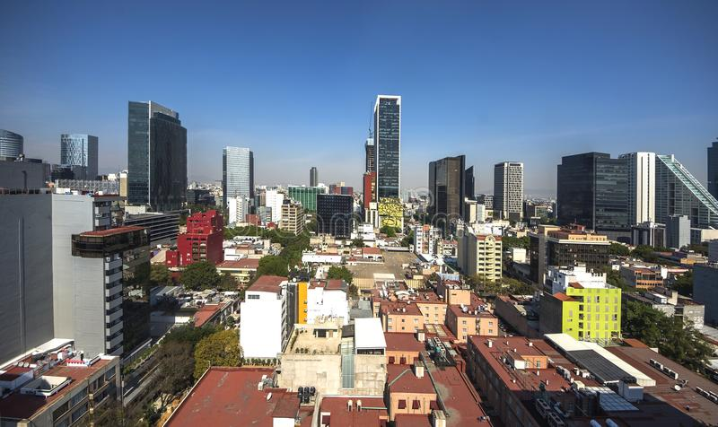 Panoramic view of historical building in Mexico City stock photos