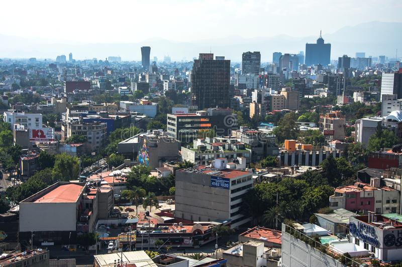 Panoramic view of historical building in Mexico City stock photography