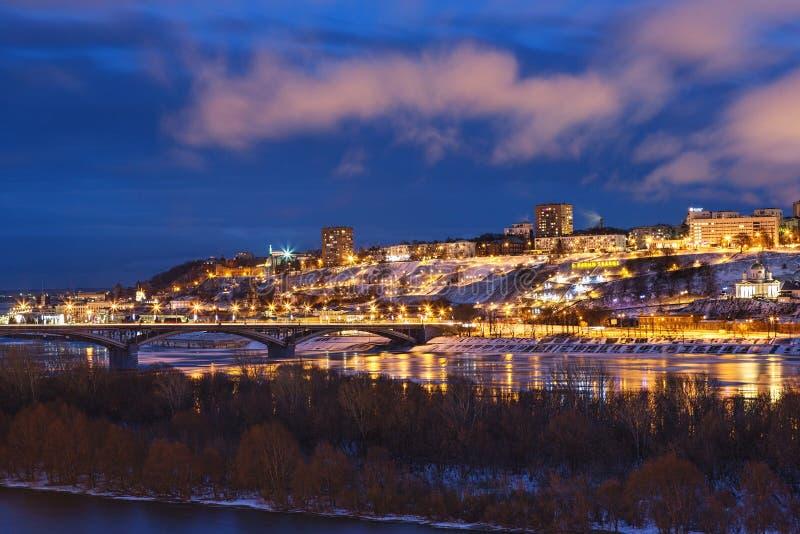 Panoramic view of historical part of Nizhny Novgorod with Kremlin royalty free stock image