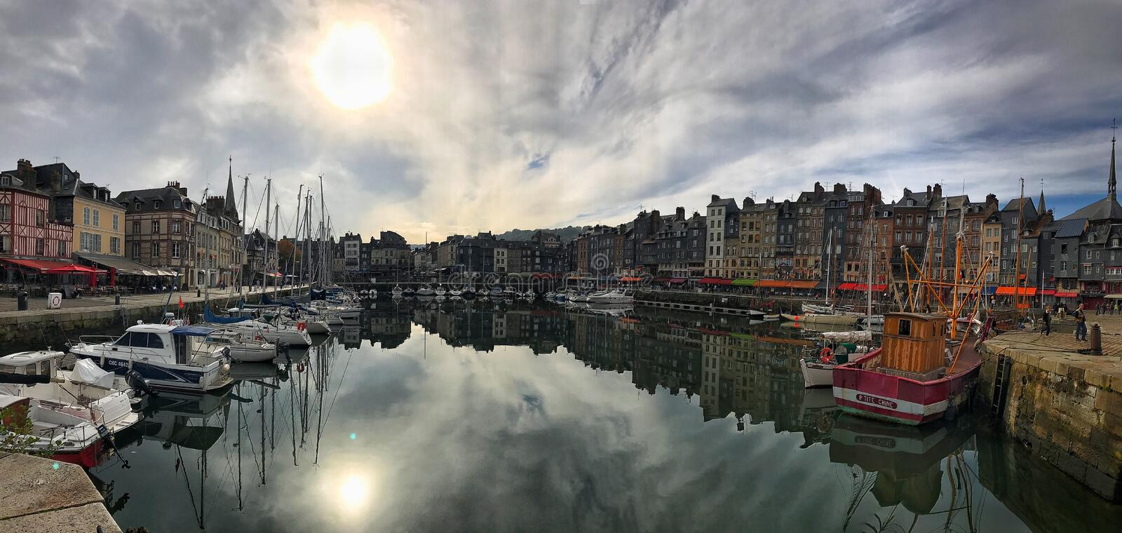 Panoramic View of Honfleur, Normandy, France stock images
