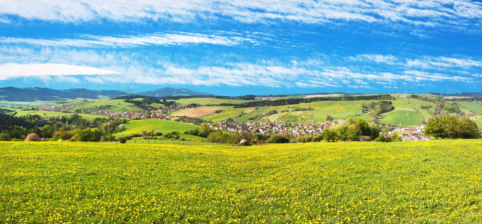 Meadow ful of dandelions and beautiful clouds. Panoramic view of Horni Lidec village with meadow ful of dandelions and beautiful clouds - Carpathiam mountains stock image