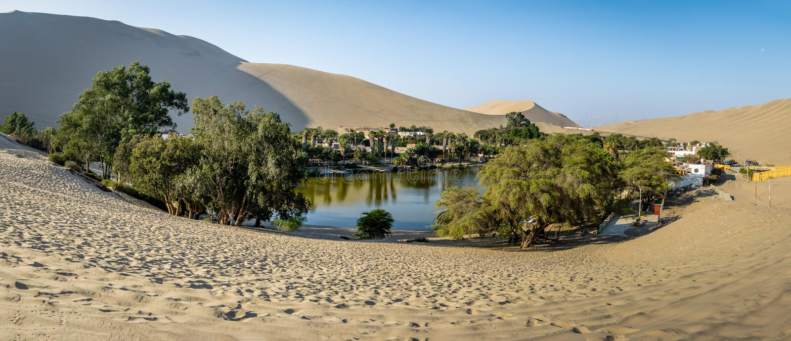Panoramic view of Huacachina Oasis - Ica, Peru stock image