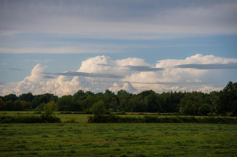 Panoramic view on huge cloud  formations stock photos