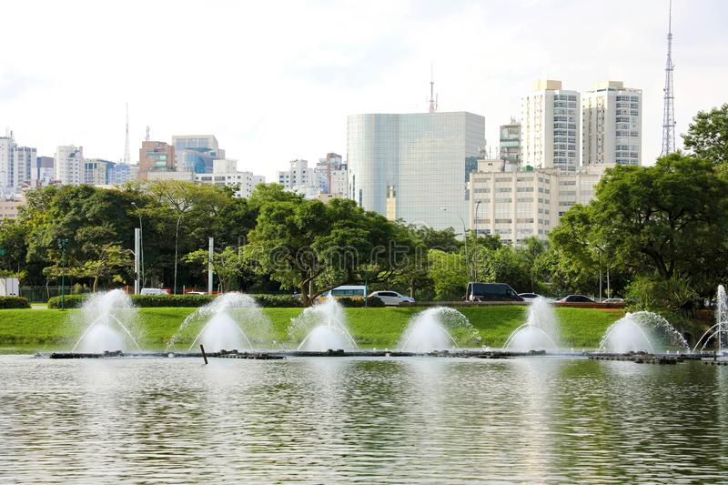 Panoramic view of Ibirapuera Park with Sao Paulo cityscape, Brazil stock image