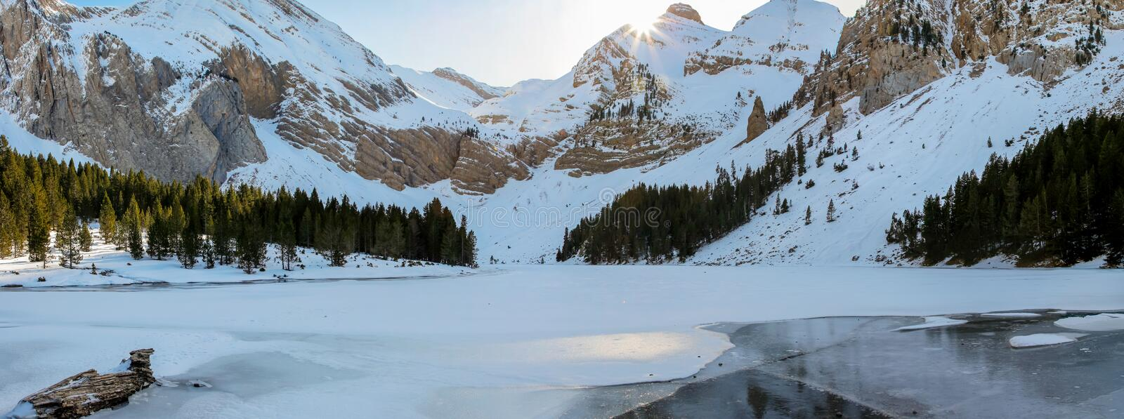 Panoramic view of the Ibon de Plan Huesca. Nature winter concept royalty free stock image
