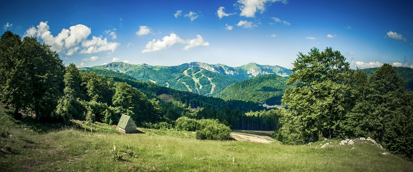 Panoramic view of idyllic mountain scenery with fresh green meadows stock photography