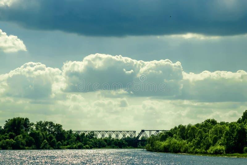 Panoramic view of Indian railway bridge across the river Zuari in Goa, India.  royalty free stock photo