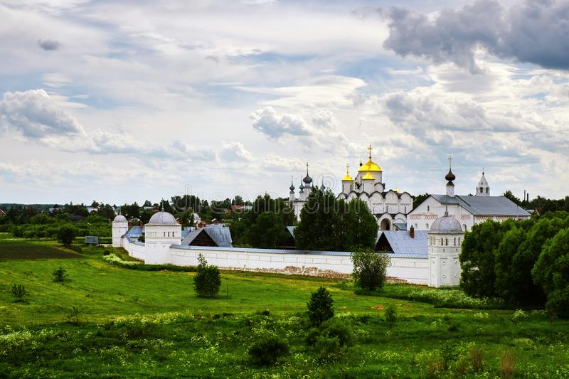 Panoramic view of Intercession Pokrovsky Monastery in Suzdal, Russia stock images