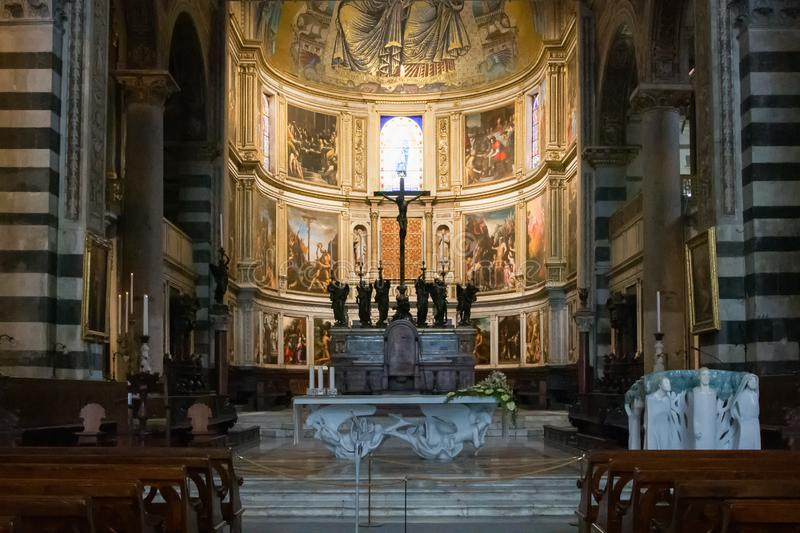 Panoramic view and interior details of Pisa Cathedral, a medieval Roman Catholic cathedral in Pisa, Italy stock image