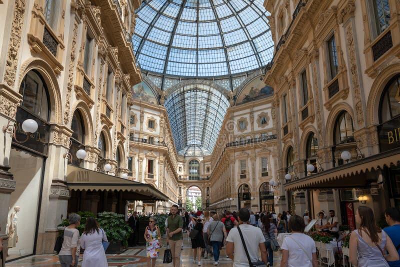 Panoramic view of interior of Galleria Vittorio Emanuele II stock photo