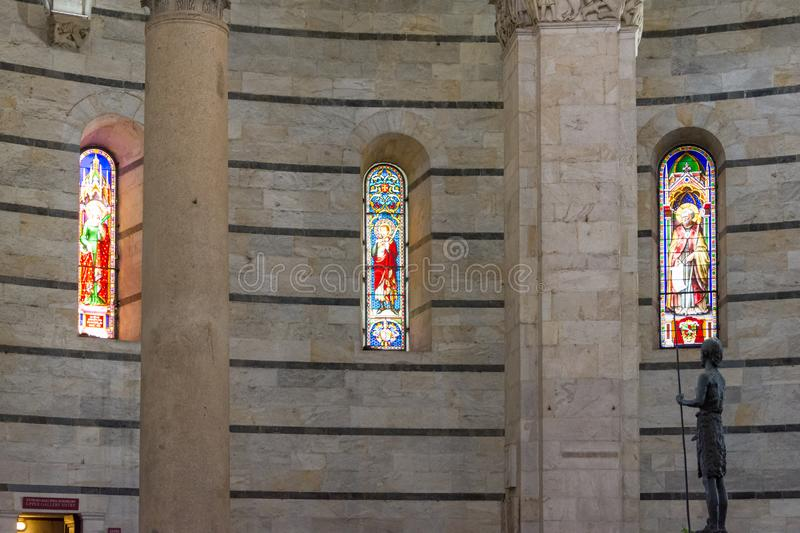 Panoramic view of interior of Pisa Baptistery of St. John Battistero di San Giovanni is a Roman Catholic ecclesiastical building. Pisa, Italy - August 19, 2016 royalty free stock photos