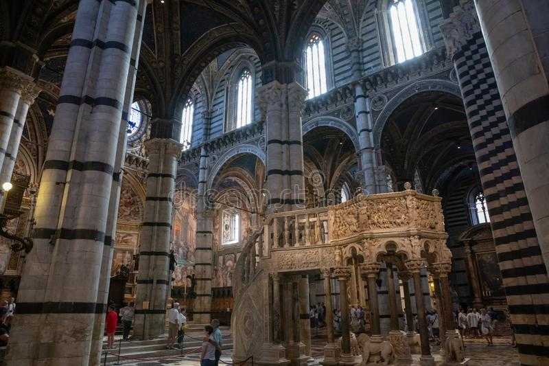 Panoramic view of interior of Siena Cathedral (Duomo di Siena) stock photos