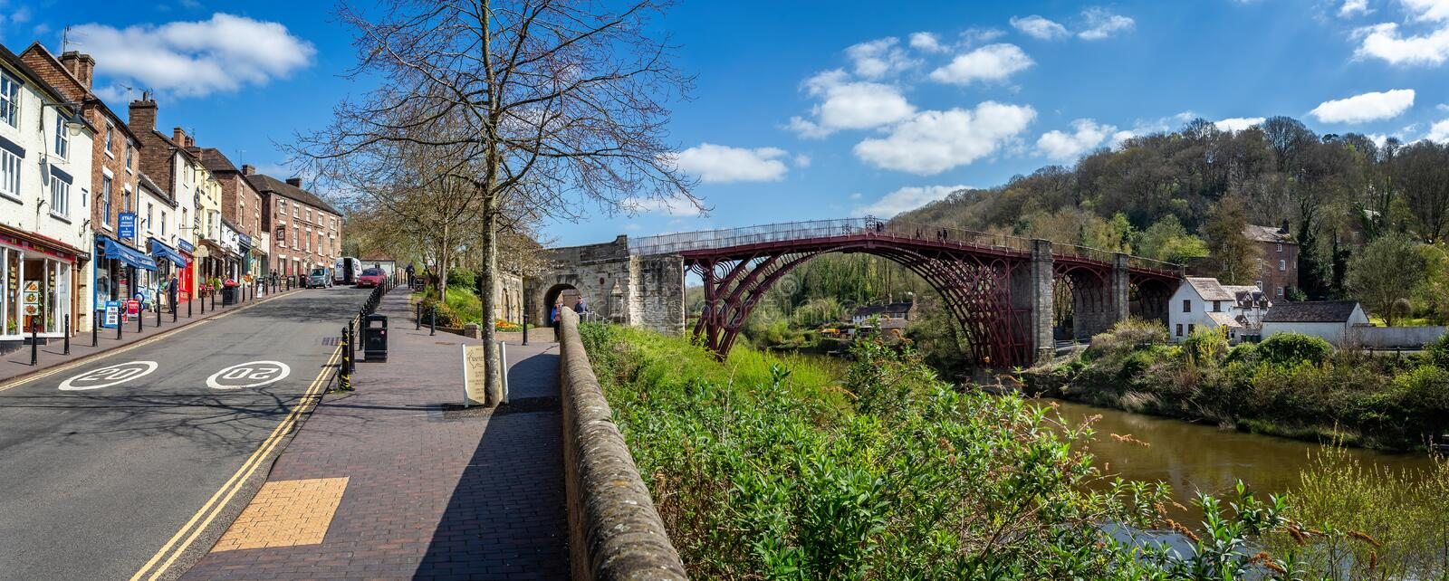Panoramic view of Ironbridge town and the iconic Ironbridge in Shropshire, UK. On 10 April 2019 stock photography